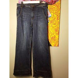 Free People Stretch Wide Leg Jeans -Bewick -Sz 30